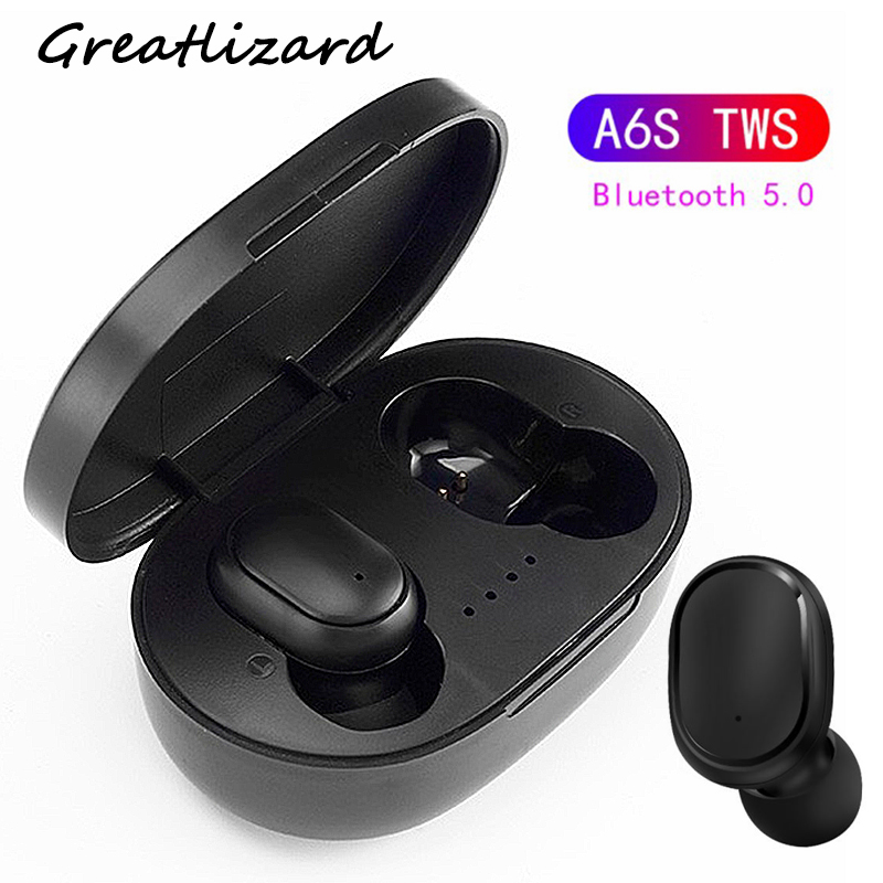 <font><b>A6S</b></font> <font><b>TWS</b></font> Bluetooth <font><b>Wireless</b></font> Earphones Handsfree Earbuds 5.0 Earphones Noise Cancelling Mic Charging Box For Andriod IOS image