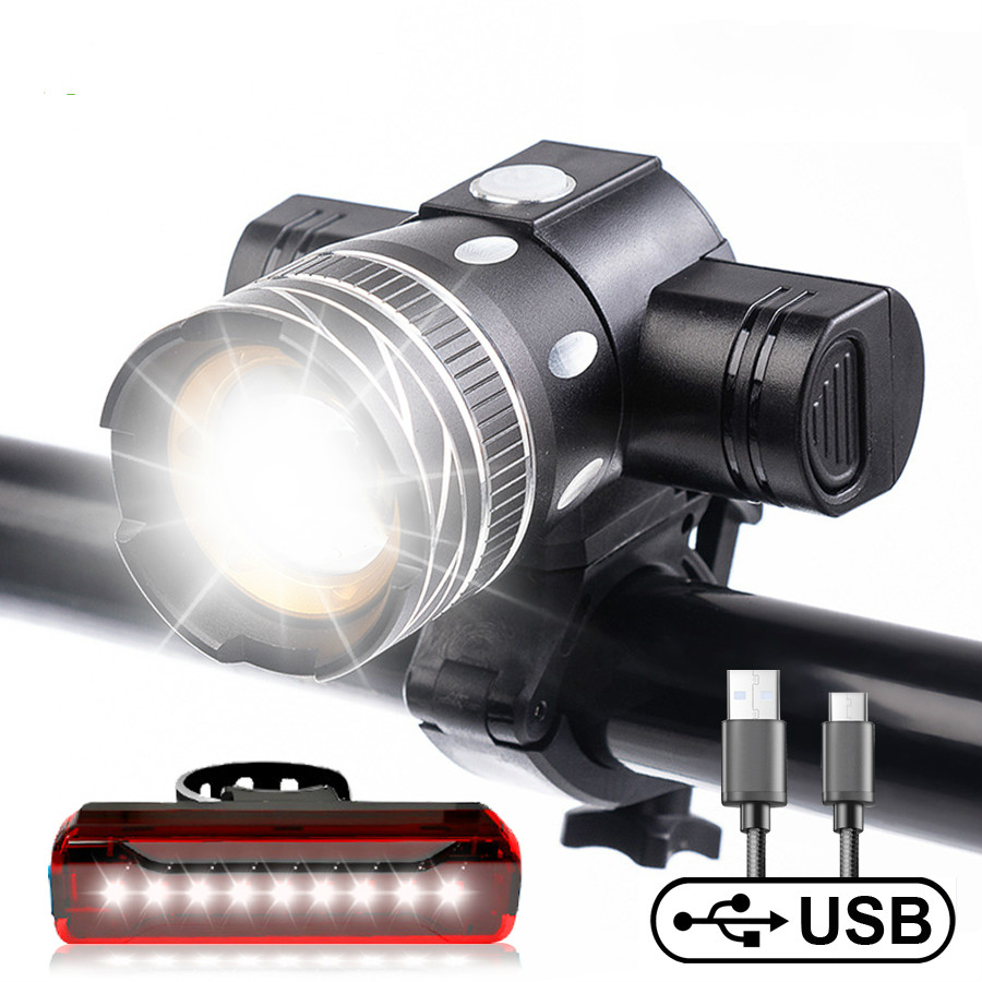 T6 LED USB Rechargeable Adjustable Bicycle Light 800 Lumen Led Bike Headlight Zoom with Tailight Bike Accessory
