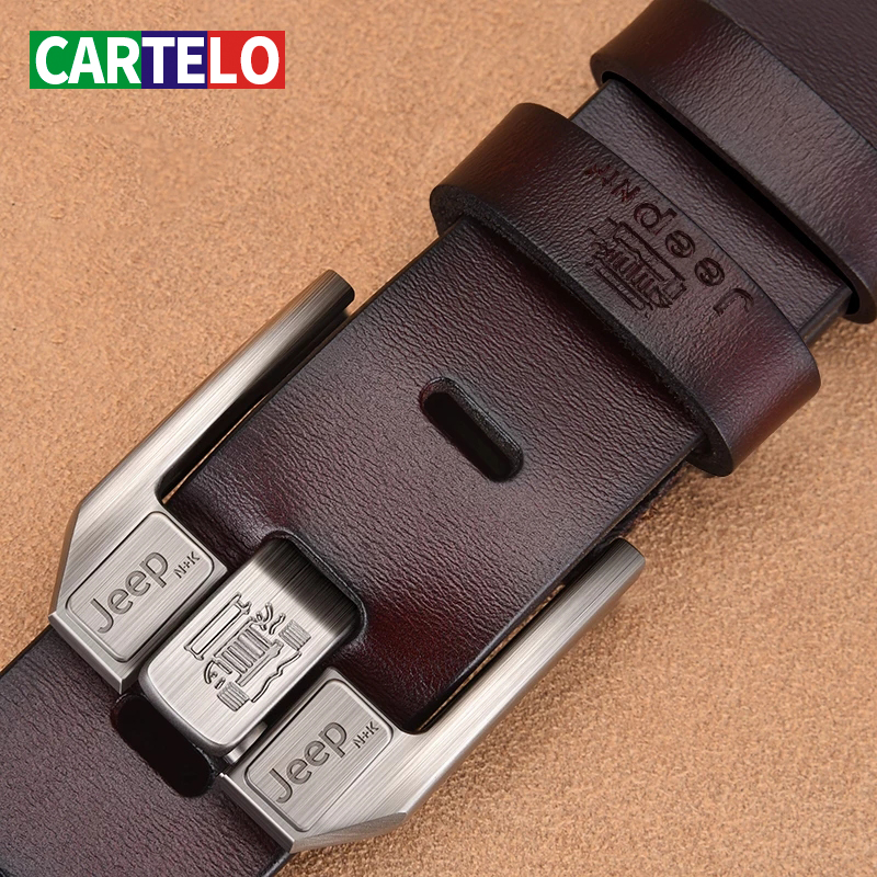 CARTELO Genuine Leather For Men High Quality Black Buckle Jeans Belt Cowskin Casual Belts