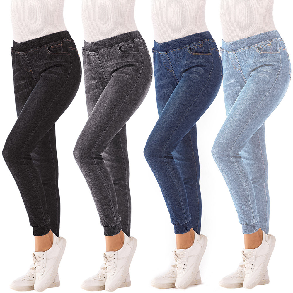 Jeans for Women Mom Jeans Mid Waist Jeans Woman High Elastic Plus Size Stretch Jeans Female Washed Denim Skinny Pencil Pants#B 1