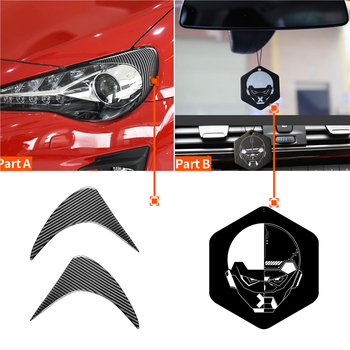 1 Pair Carbon Fiber Front Headlight Eyebrow Stickers Car Headlamp Eyelids Decoration Strips For Toyota GT86 Subaru BRZ 2012-2016 image