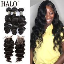 Halo Hair extensiones de cabello peruano ondulado suelto, 8 28 30 paquetes pulgadas, con cierre, Remy 3, 4 mechones con cierre