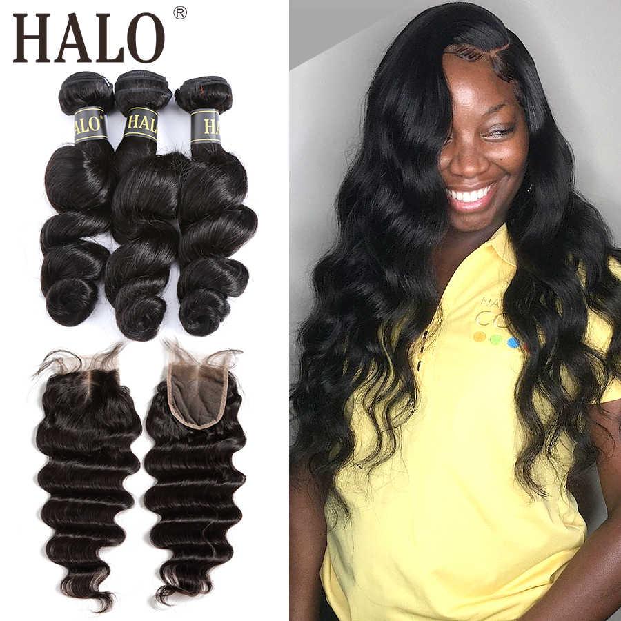 Halo saç gevşek derin dalga perulu saç örgü 8-28 30 inç demetleri ile kapatma Remy 3 4 demetleri kapatma ile saç uzatma