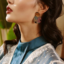 Fashion Vintage Printing Jewelry Colorful flowers Women Round New Flower Drop Earring round earrings 1 Pair