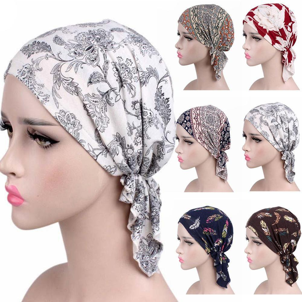 Women Print India Hat Muslim Ruffle Cancer Chemo Beanie Turban Wrap Cap Leopard Print Hats Women Accessories