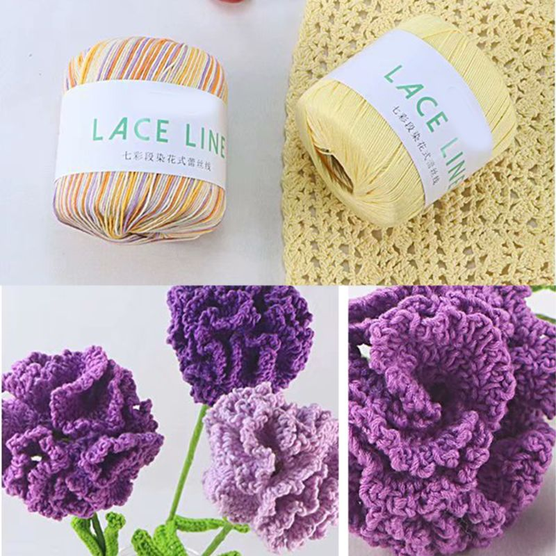 1 Roll Gradient Colorful Cotton Lace Line DIY Hand Knitting Yarn Crochet Sewing Thread For Dress Sweater Scarf Cushion