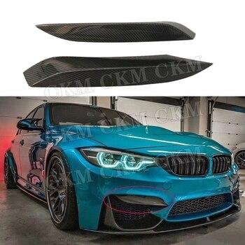 Для M3 M4 углеродное волокно передняя противотуманная фара брови крышка веки планки полоски для BMW 3 серии F80 M3 4 серии F82 F83 M4 2012-2017