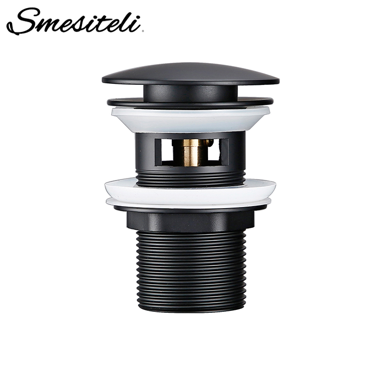 Smesiteli Accessories Bathroom Sink Pop-Up Alba Matte Black Waste Pipe First-Class Stopper Strainer With Hole Sewer Plug