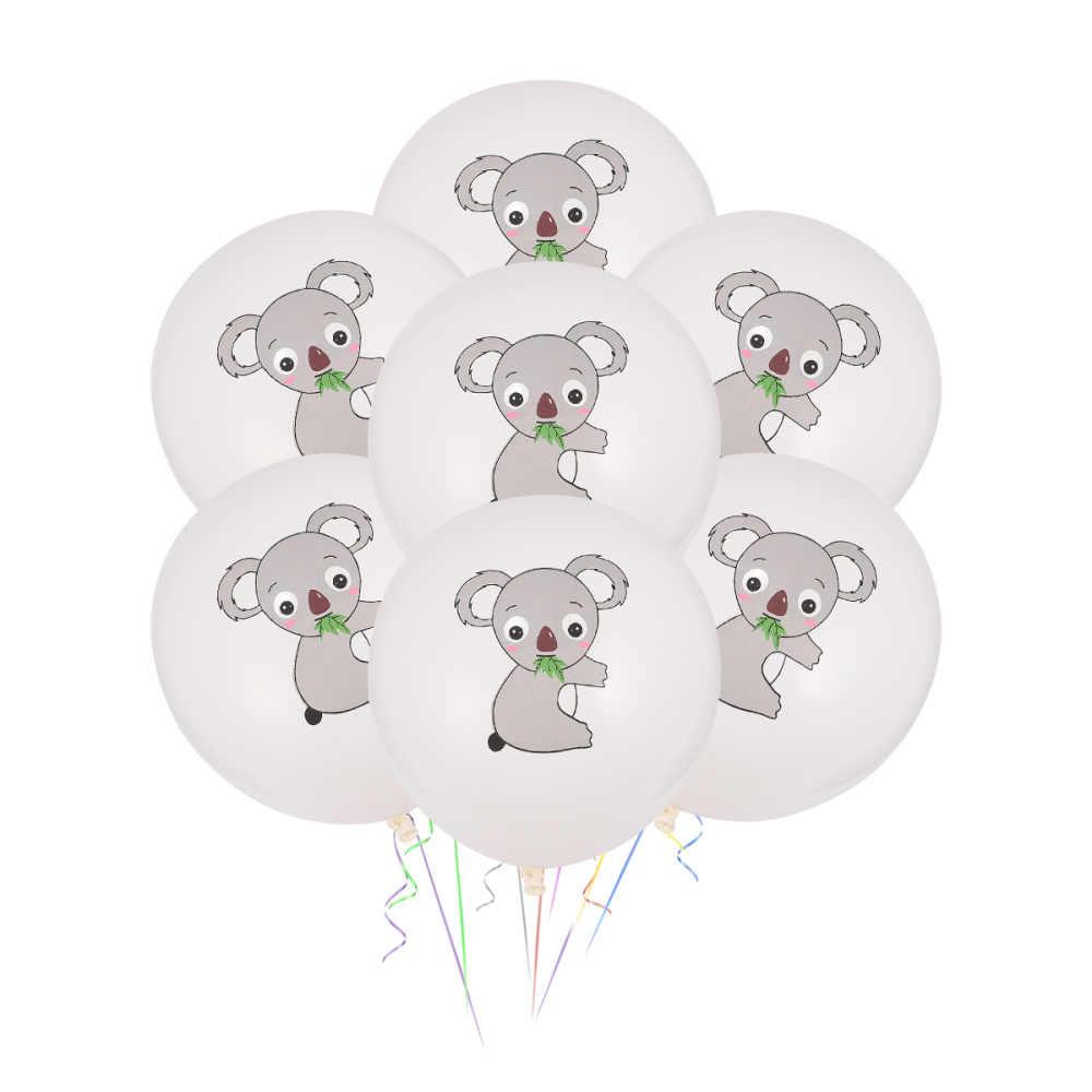 Juego de 20 globos de Safari en forma de animales, de látex, para temática de jungla, decoraciones para fiesta de cumpleaños (patrón de Koala)
