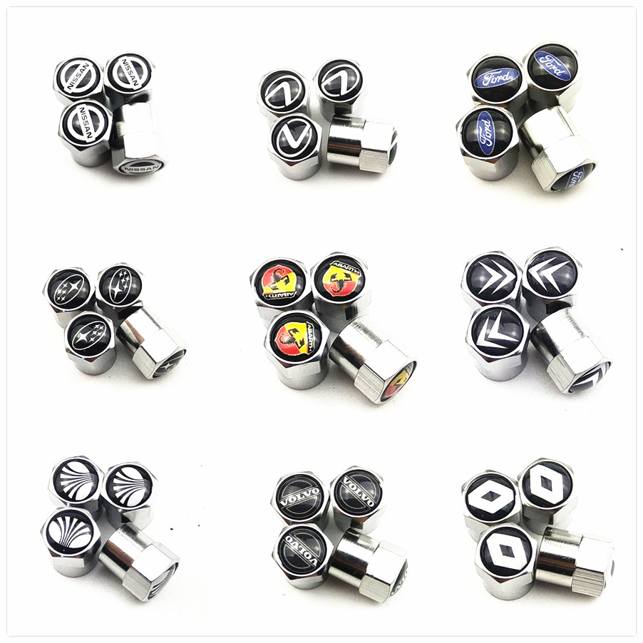 4pcs New Metal Wheel Tire Valve Caps For Vw Suzuki Audi Bmw Skoda Mazda Nissan Subaru Mercedes OPEL Peugeot AMG R Car Styling