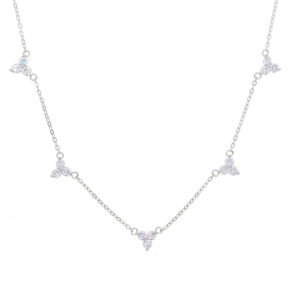 NEW High Quality 5 Czs Bezel Cz Station Statement Women 100% 925 Sterling Silver 35+10cm Cz Choker Necklace Chain Black Friday