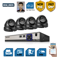 Face AI 4CH 5MP POE Video Security System H.265+ NVR With 5MP 130ft Night Vision IP Outdoor Waterproof Surveillance CCTV Camera