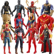 Marvel Avengers Spiderman Iron Man Hulk czarna pantera kapitan ameryka Thanos doktor strange Thor model figurki zabawka tanie tanio Żołnierz gotowy produkt Wyroby gotowe Unisex 14cm Z tworzywa sztucznego NO FIRE 1 60 Zachodnia animiation Pierwsze wydanie
