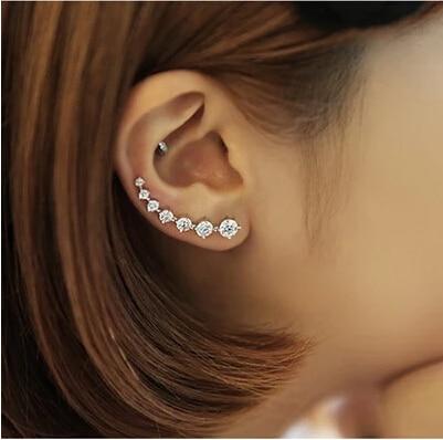 Colorful Ear Cuff Earrings for Women Four-Prong Setting 7pcs CZ Crystals Rose Gold Color fashion Jewelry Xmas E527 E534 E548