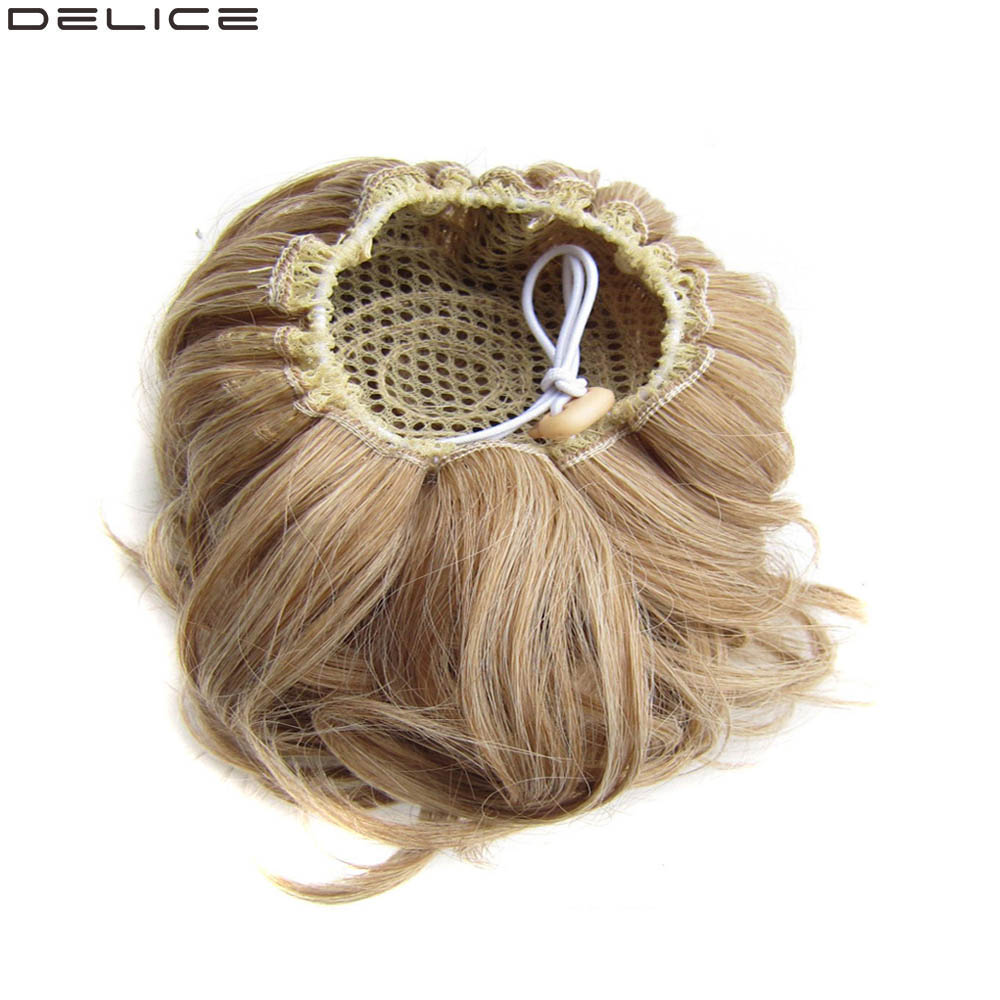 DELICE Synthetic Curly Chignon Women's Elastic Hair Bun Drawstring Clip In Donut Hair Buns 60g/pc