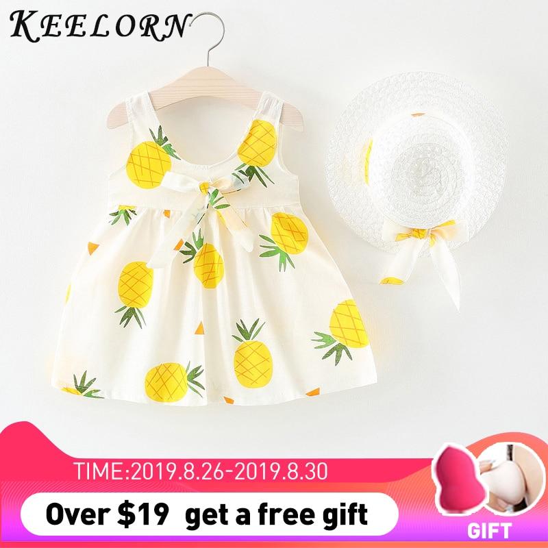 KEELORN KIDS Girls Clothing Summer Girl Dress Straw Hat Bow Strap Princess Children Kids Flower Beach dress girl