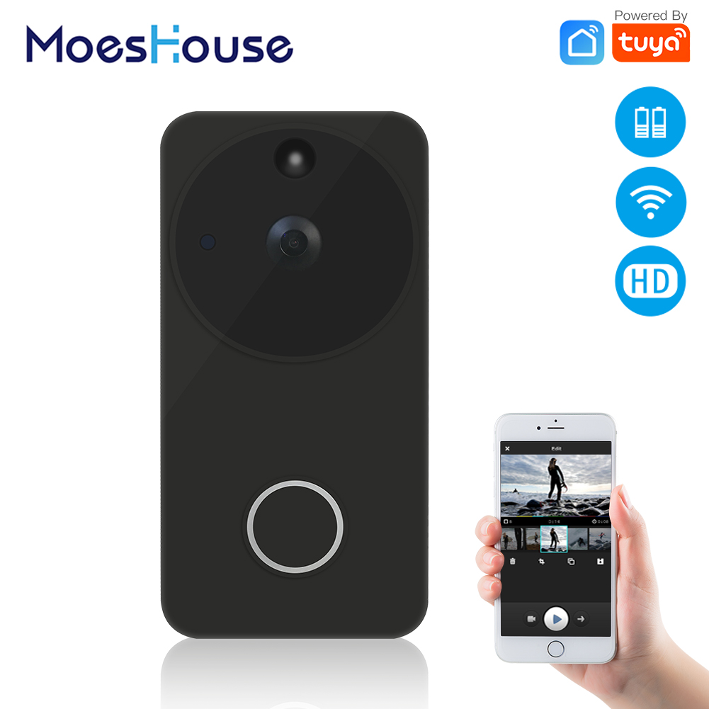 Tuya Smart Life Wireless Smart Video Doorbell Camera Full HD PIR Motion Detection Night Vision Camera