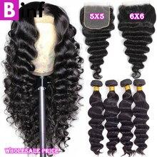 30 40 pacotes soltos da onda profunda com fechamento 4x4 5x5 6x6 fechamento com pacotes cabelo brasileiro remy feixes de cabelo humano com fechamento