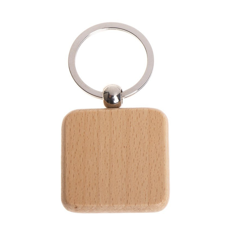 60Pcs Blank Square Wooden Keychain DIY Key Tag Gift