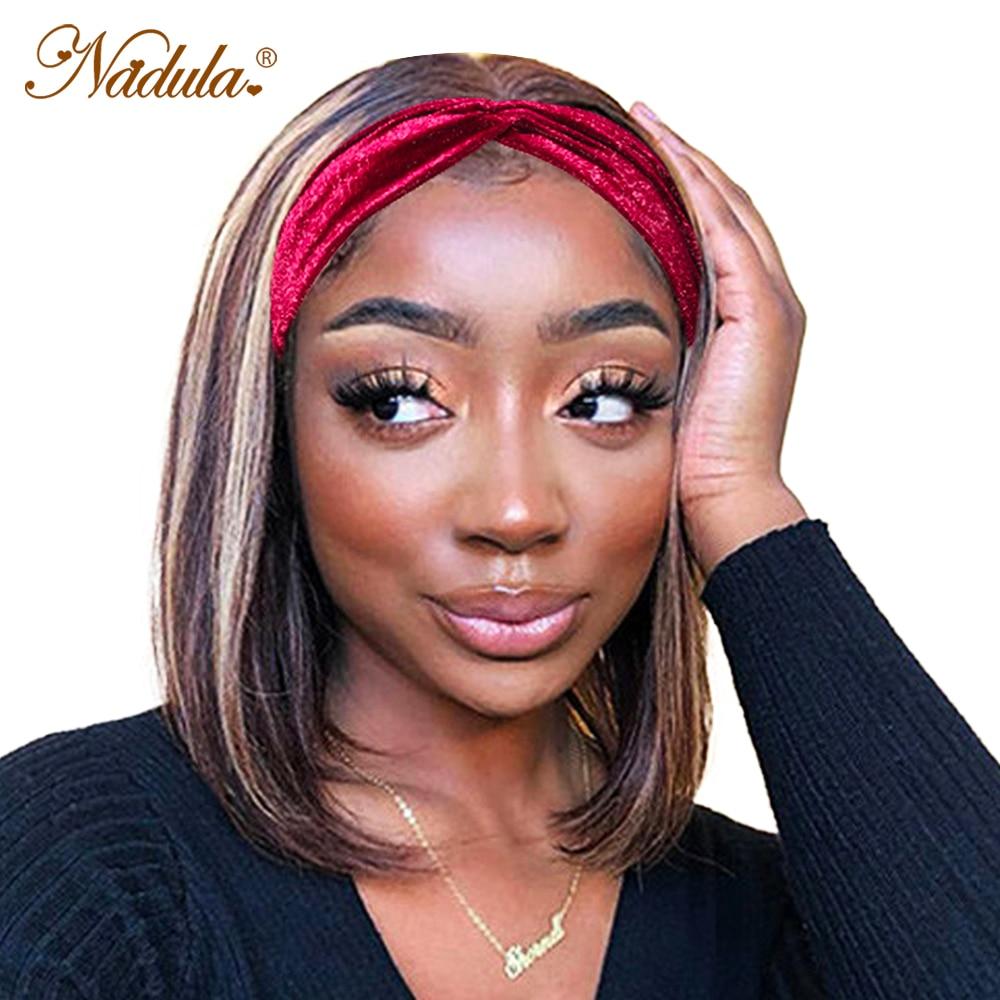 Nadula Straight Hair Headband Wig Honey Blonde Short BoB  Wigs Piano Color Highlight Wig  Headband Wig 1