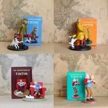 Statue en Vogue hergé Adventure, dessin animé Tintin Milou, bonhomme de neige en difficulté, Le Lotus Bleu, modèle de figurine de voyage, jouet