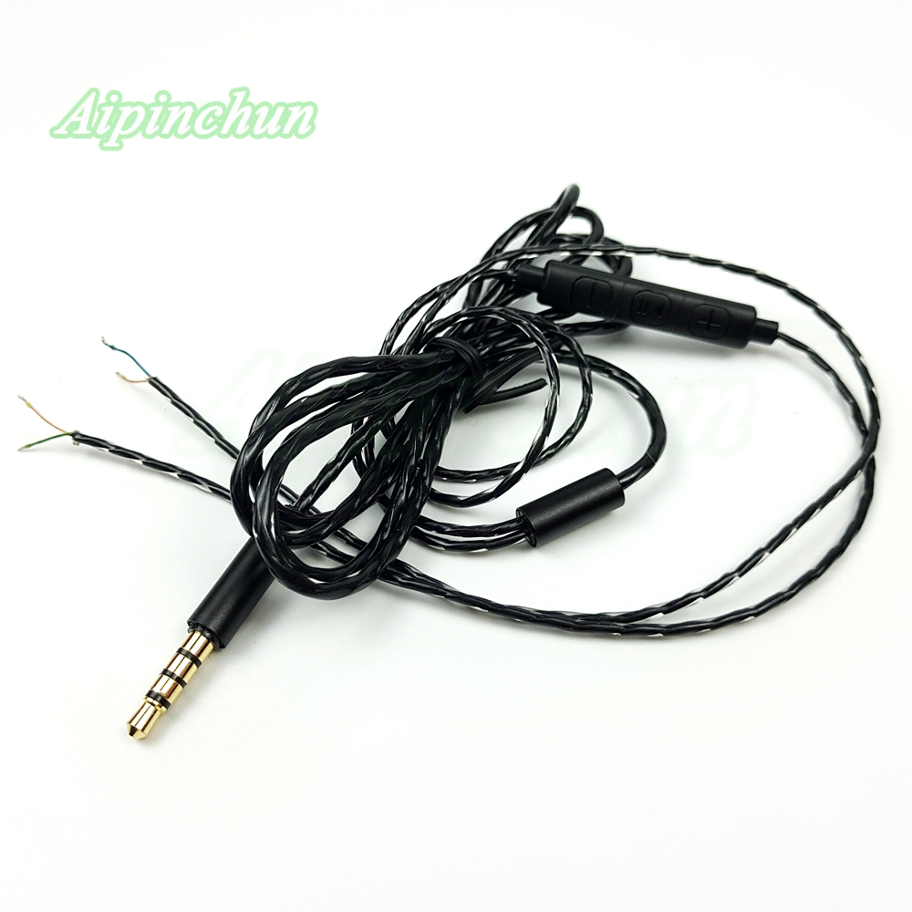 Black Headphone Repair Cable DIY Headset Replacement Wire With Mic Volume Controller 3.5mm 4-Pole Jack