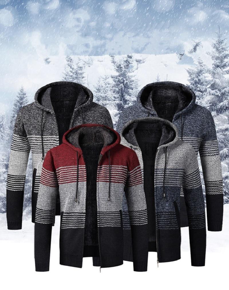 Mens Sweaters New Add Wool Loose-fitting Sweater Men's Hooded Cardigan Men's Coat