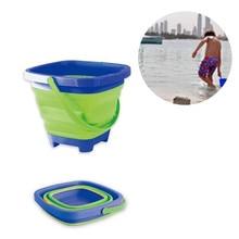 Soft Plastic Folding Bucket Portable Summer Beach Water Toy Telescopic Bucket Silicone Car Washing Bucket Children Home Storage