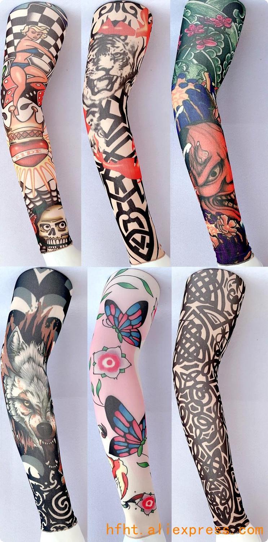 Beauty Tattoo Sleeve (Seamed), Butterfly Wolf Clown High Elastic Arm Warmers HT010-102, Length 47CM