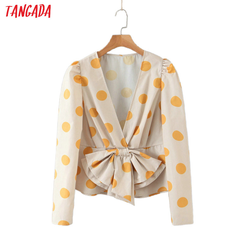 Tangada Women Retro Dots Print Crop Blouse Bow Long Sleeve 2020 New Arrival Chic Female V Neck Shirt Tops SL221