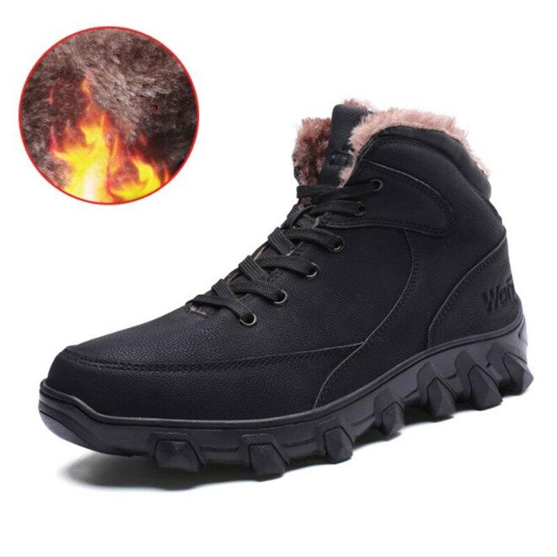 Men Genuine Leather Outdoor Sport Hiking Shoes For Men Winter Plush Fur Travel Walking Camping Hiking Shoes Hiking Sneakers Men