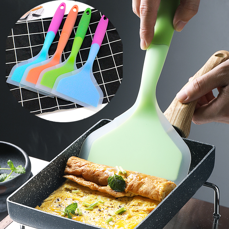 Silicone Spatulas Beef Meat Egg Kitchen Scraper Wide Pizza Shovel Non-stick Turners Food Lifters Home Cooking Utensils