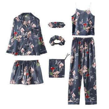 7pcs/3Pcs Pajamas Set Women Silk Summer Sexy Pyjamas Female Long Sleeve Shirt Pants Handwork Stitch Lingerie Striped Sleepwear