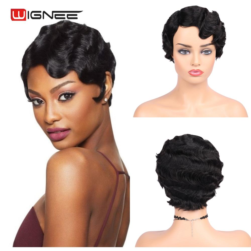 Wignee Ocean Wave Remy Human Hair Wigs For Black Women None Lace Bob Deep Wave Human Wigs 150% High Density Short Pixie Cut Wig