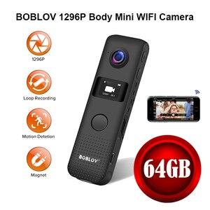 Boblov mini câmera wifi movimento detectar 64g hd 1296 p profissional bodycam micro ímã filmadora gravação de loop dvr cam