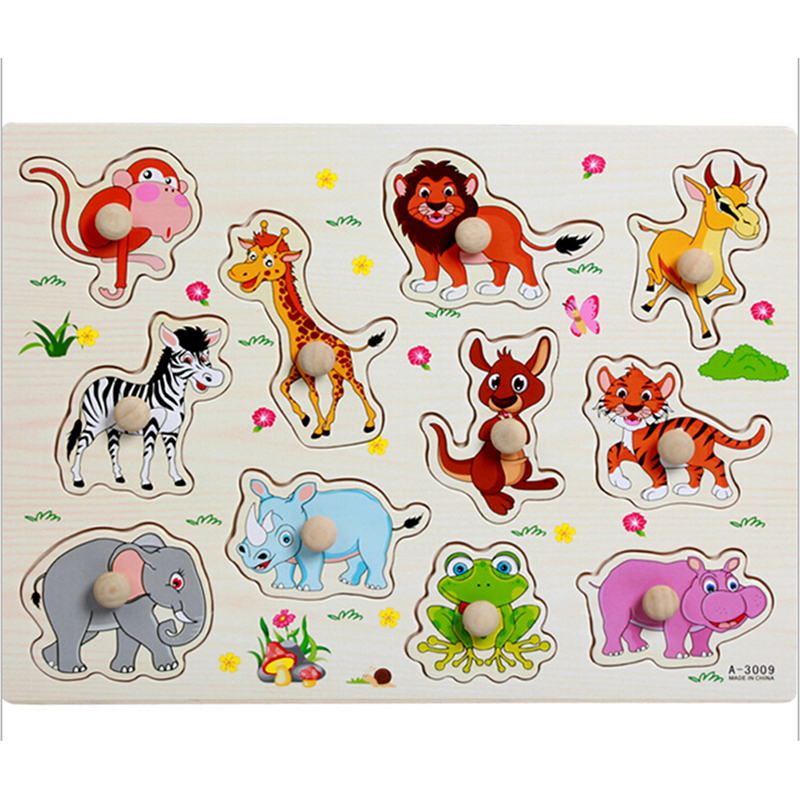 No Burrs Baby Wood Puzzles Forest/Marine/Farm Etc 8 Style Classic Puzzles Toy Children's Letter Animal Fruit Puzzle Board Toys