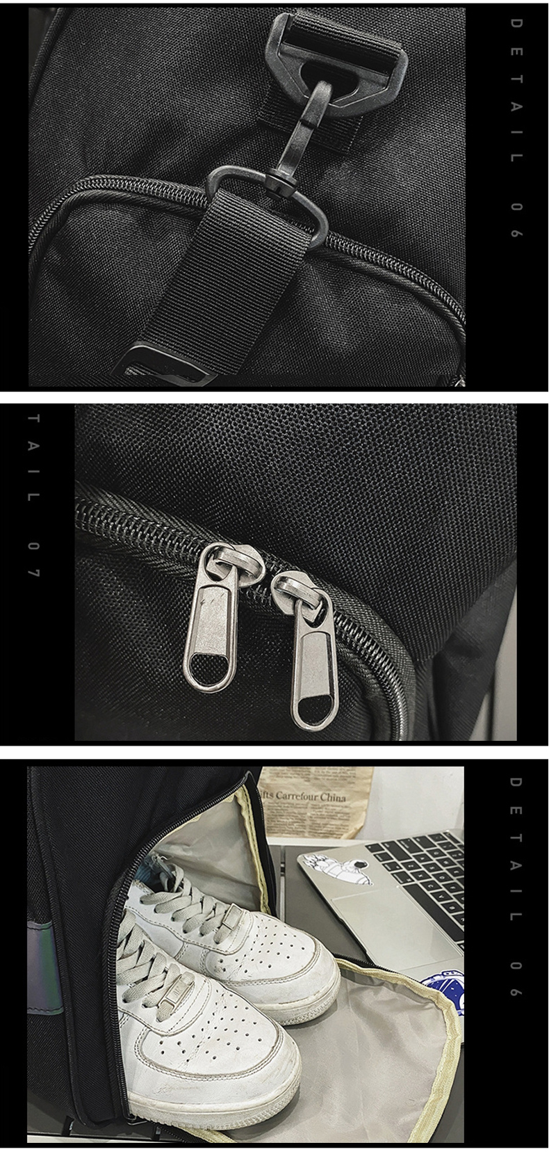 Large Capacity Travel Bag with Reflective Design