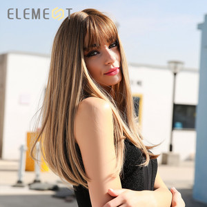 """Image 4 - Element 18"""" Blonde Synthetic Wig with Bangs Long Straight Natural Headline Heat Resistant Hair Cosplay Party Wigs for Women"""