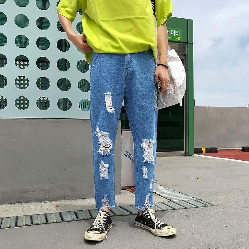 With Holes Capri Jeans Men's Spring And Summer New Style Korean-style Trend Of Fashion Men'S Wear Loose Straight Harem MEN'S Pan