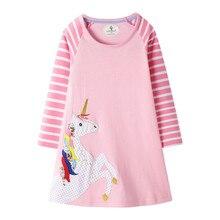 Детская одежда; ночная рубашка для девочек; хлопковая ночная рубашка с длинными рукавами для девочек; полосатая Пижама с единорогом; Рождественская Пижама