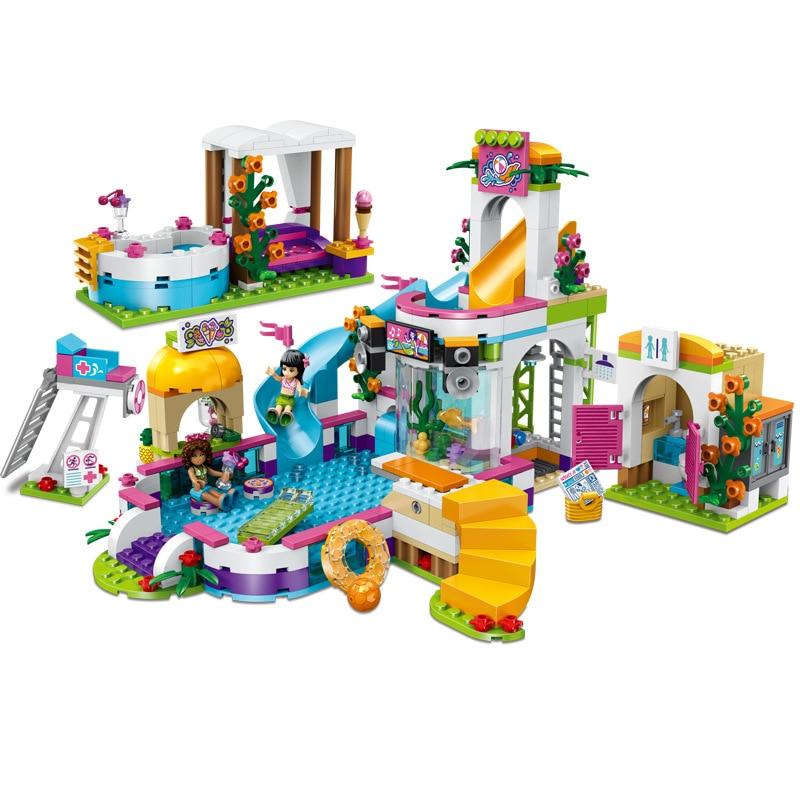 592pcs Friends Girls Series Heartlake Summer Swimming Pool Set Building Blocks Compatible Legoinglys Toys For Girls