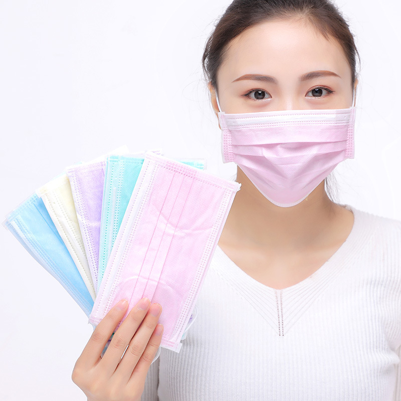 Multi-color Selectable Adult Disposable Mask Three-layer Non-woven Fabric Mask Manufacturers Wholesale Dust Respirator 10 PCs
