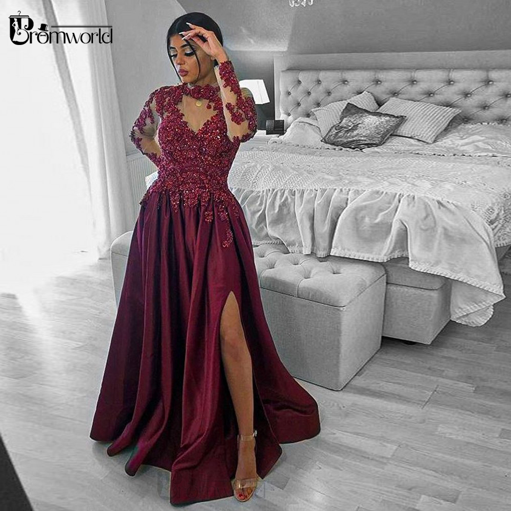 Elegant Burgundy Long Sleeves Evening Dresses 2020 A-Line Satin Lace Appliques Beaded Dubai Arabic Formal Evening Gown Prom