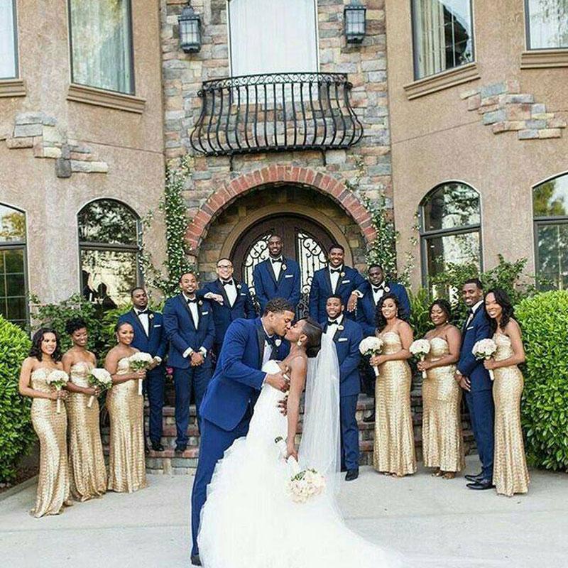 2019 Men's Custom Made Wedding Suit Pants Blue Groom Tuxedos Best Man Blazer Black Peaked Lapel Terno Masculino 2Piece