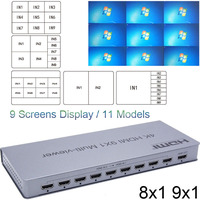 4K HDMI 8x1 Quad Multi viewer Switcher 8 9 In 1 Out Seamless Switch 9x1 Multiviewer Picture Splitter HDTV Display Screen Divider