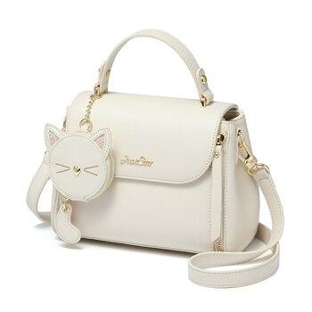 Bolsos de mujer, bolsos de mano de retales de cuero, bolsos de hombro para chica, bolso de mensajero, bolsos femeninos, estilo Braccialini, gato blanco de dibujos animados