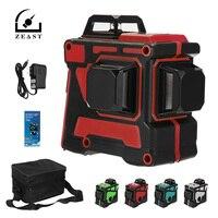 ZEAST 레이저 레벨 12 라인 3D 360 ° 셀프 레벨링 수평 및 수직 크로스 블루 라이트 AC 100-240V 충전 레이저 레벨