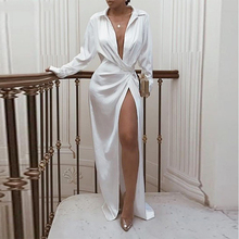 Long sleeve turn down collar maxi dress women solid wrap white dress summer 2019 Sexy party dresses club streetwear Robe femme giyu summer women shirt dress casual striped printing dresses turn down collar vestido long sleeve basic robe femme