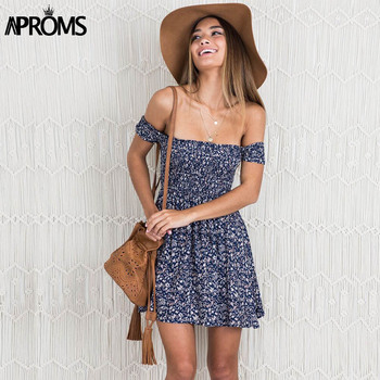 Aproms Sweet Ruched Pleated Print Short Dress Streetwear Off Shoulder Female Dress 2020 Boho Summer High Waist Sundress Vestidos 2