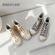 ROBESPIERE Autumn Winter Casual Ankle Boots Women Round Toe Lace Up Flat Platform Shoes Woman High Top Sneaker Style B51